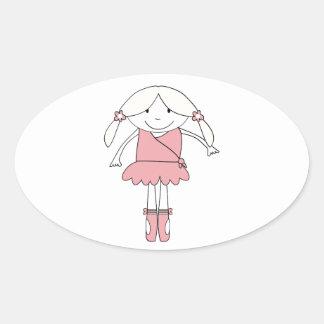 Adesivo Oval Menina da bailarina