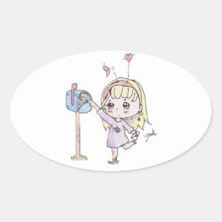 Adesivo Oval menina da caixa postal