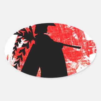 Adesivo Oval Menina japonesa