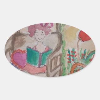 Adesivo Oval menina no livro de leitura do balanço