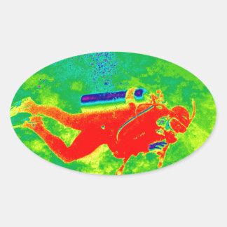 Adesivo Oval Mergulhador de mergulhador de Havaí