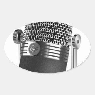 Adesivo Oval Microfone clássico