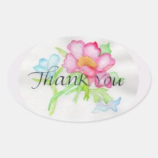 Adesivo Oval Mini buquê floral TY do rosa selvagem cor-de-rosa