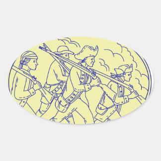 Adesivo Oval Mono oval de marcha dos soldados revolucionários
