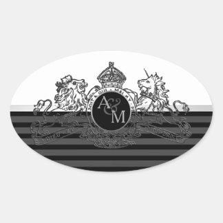 Adesivo Oval Monograma branco do emblema do unicórnio do leão