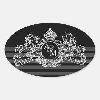 Adesivo Oval Monograma régio do emblema do unicórnio branco