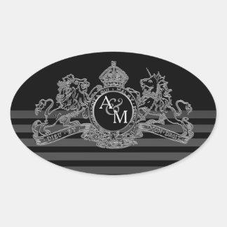 Adesivo Oval Monograma régio do emblema do unicórnio de prata