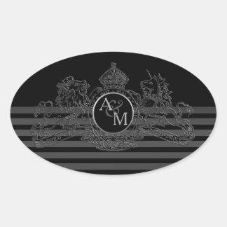 Adesivo Oval Monograma régio do emblema do unicórnio preto do