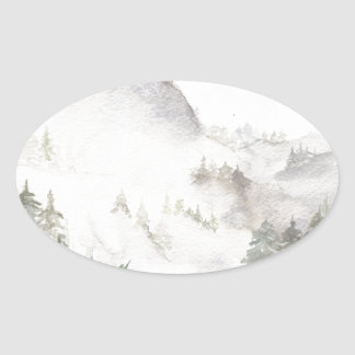 Adesivo Oval Montanhas enevoadas