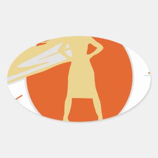 Adesivo Oval mulher-estrela mundial