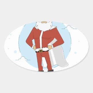 Adesivo Oval Natal de Papai Noel