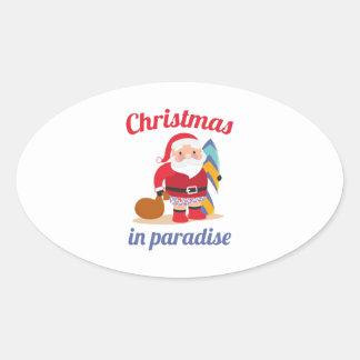 Adesivo Oval Natal no paraíso