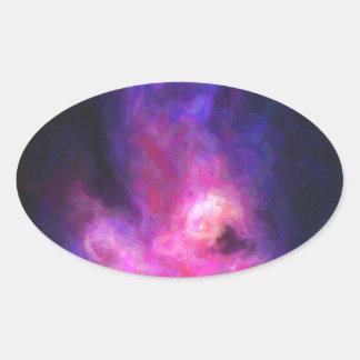 Adesivo Oval Nebulla abstrato com a nuvem cósmica galáctica 27
