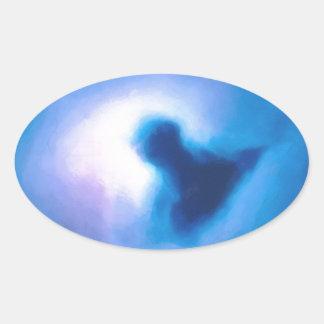 Adesivo Oval nebulosa galáctica abstrata nenhuns 3