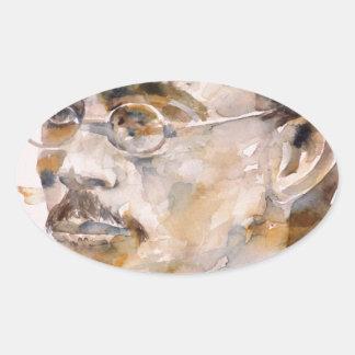 Adesivo Oval nietzsche de Friedrich - aguarela portrait.2