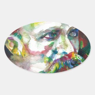 Adesivo Oval nietzsche de Friedrich - retrato da aguarela