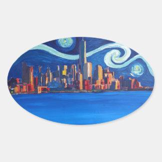 Adesivo Oval Noite estrelado na Nova Iorque - torre da