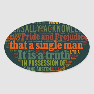 Adesivo Oval Nuvem da palavra do orgulho e do preconceito