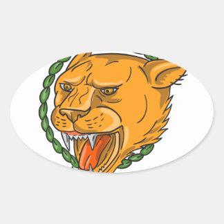 Adesivo Oval O anel da rosnadura da leoa sae do tatuagem