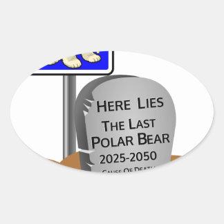 Adesivo Oval O aquecimento global, RASGA o urso polar 2050