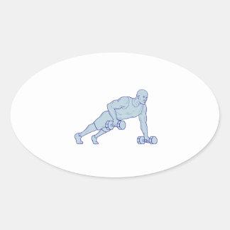 Adesivo Oval O atleta da malhação levanta um desenho do