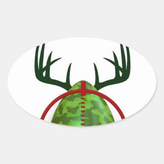 Adesivo Oval O caçador perito da páscoa, cervo do ovo visa o