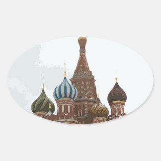 Adesivo Oval O cathedral_russo da manjericão do santo