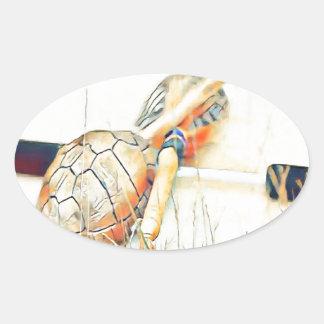 Adesivo Oval O clã da tartaruga chocalha e rufa