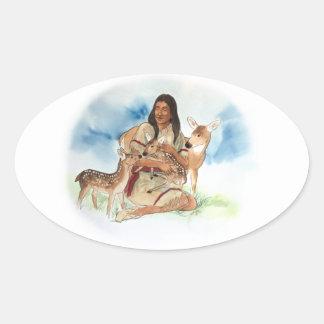 Adesivo Oval O clã dos cervos sere de mãe com suas jovens
