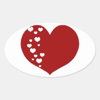 Adesivo Oval O coração segue o branco vermelho