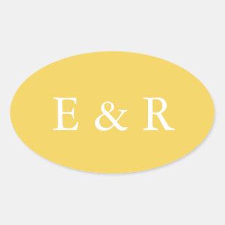 Adesivo Oval O desenhista 2017 da primavera de colore o amarelo