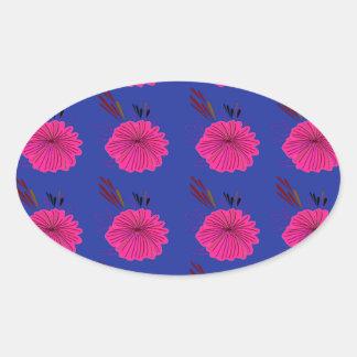 Adesivo Oval O design floresce o rosa azul