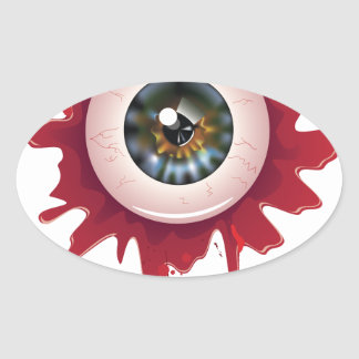 Adesivo Oval O Dia das Bruxas Eyeball3 sangrento