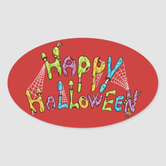 Adesivo Oval o Dia das Bruxas feliz - grafite do zombi
