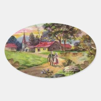 Adesivo Oval O dia retro de St Patrick do irlandês do vintage