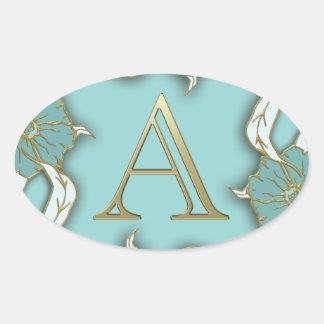 Adesivo Oval O melhor fundo do monograma da inicial da letra do
