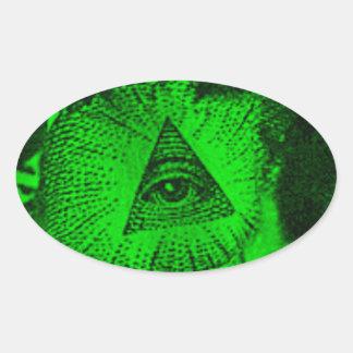 Adesivo Oval O olho de Illuminati