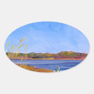 Adesivo Oval O Rio Delaware dourado