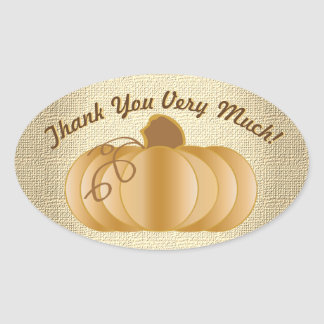 Adesivo Oval Obrigado muita abóbora