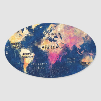 Adesivo Oval OCEANOS e continentes do mapa do mundo