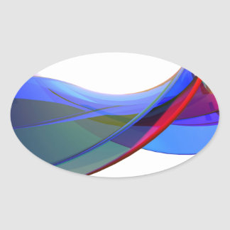 Adesivo Oval Ondas do abstrato