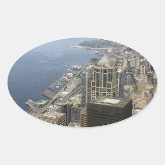 Adesivo Oval Opinião de Arial de Seattle