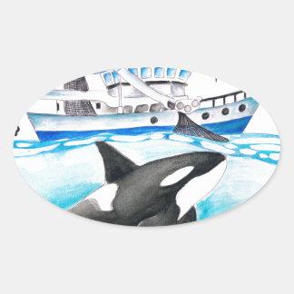 Adesivo Oval Orca e o barco