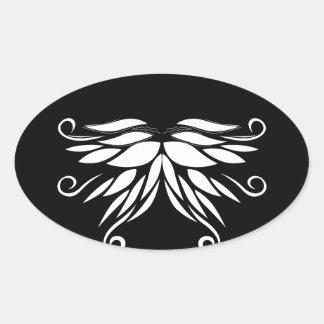 Adesivo Oval Ornamento brancos pretos do Nordic de Sibéria