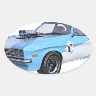 Adesivo Oval os anos 70 azuis e carro branco do músculo