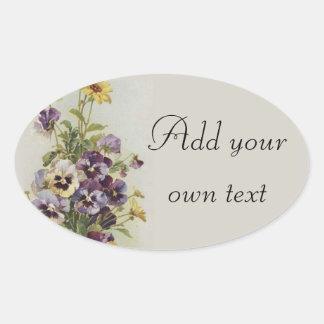 Adesivo Oval Os Pansies florais do vintage personalizam