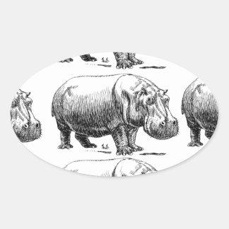 Adesivo Oval ouro do hippopotamus