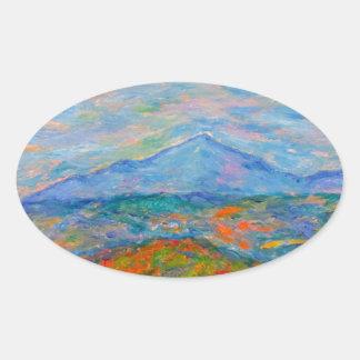 Adesivo Oval Outono azul enevoado de Ridge