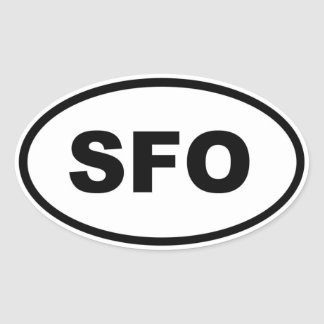 Adesivo Oval Oval do SFO San Francisco
