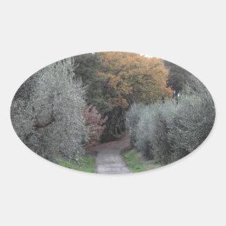 Adesivo Oval Paisagem rural com a estrada asfaltada no outono